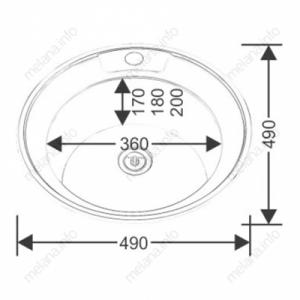 Мойка MLN 490  врез. (49х49) 0,6 полиров. с сиф.